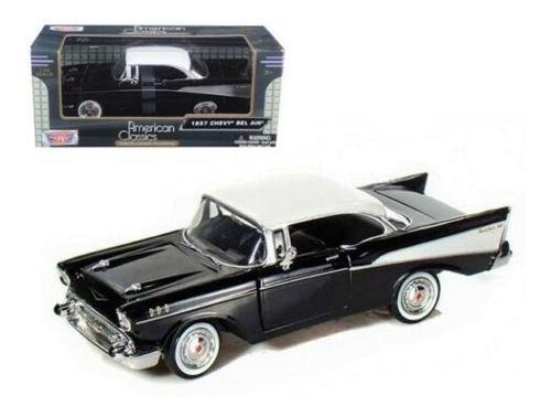Chevy Bel Air  Negro Con Toldo Blanco Motor Max 1:24