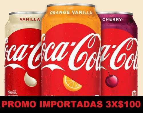 Coca Cola Vainilla, Cherry Y Vainilla Naranja Pack 3 Latas