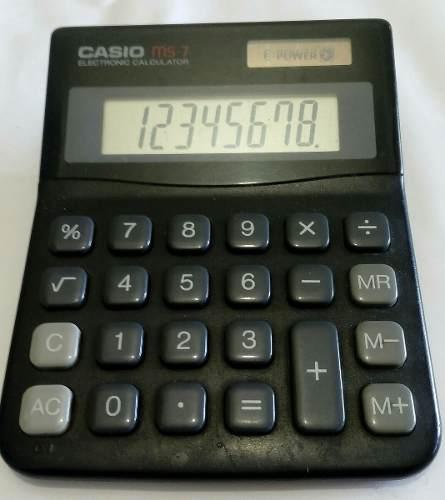 Calculadora Casio Ms-7, 8 Dig. Solar Usada 15e