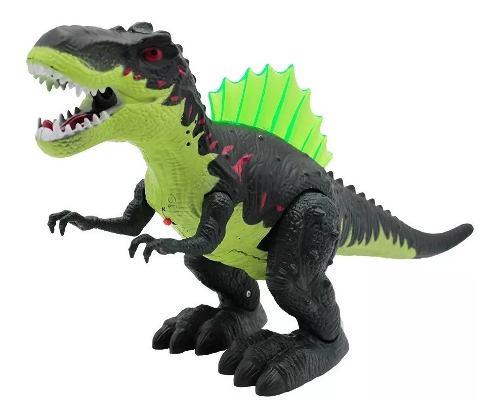 Juguete Dinosaurio T-rex Camina Lanza Humo Luz Y Sonido