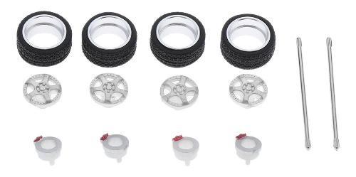 Neumáticos De Goma De 1/64 Escala Llantas De Aleación Para