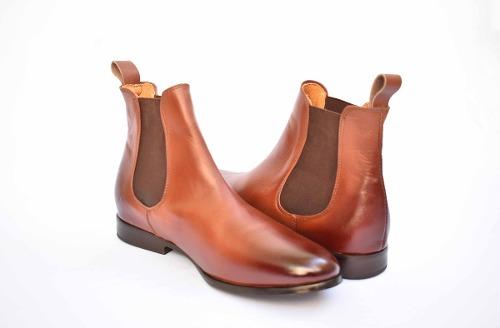 Botín Bota Chelsea Boots Piel Color Café Andre Bocassi
