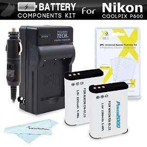 2 Batería Y Cargador Kit Para Nikon Coolpix P900, P610,