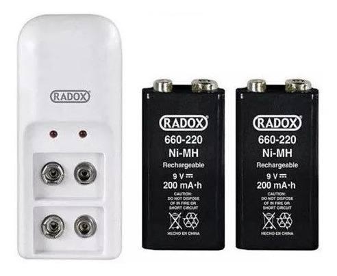 Cargador 2 Baterias 9v Cuadradas Recargables Radox