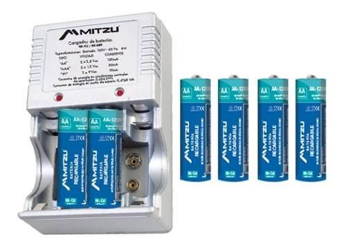 Cargador Para Baterias Aa Aaa 9v Incluye 4 Bat Aa mah