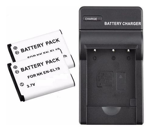 Kit 2 Baterias Y Un Cargador Para En-el19