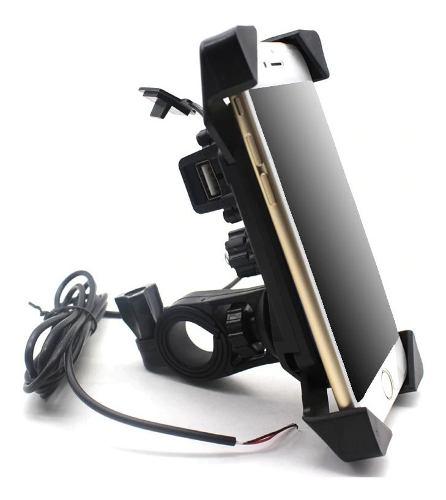 Base Soporte Para Celular Moto Bici Cargador Usb Universal