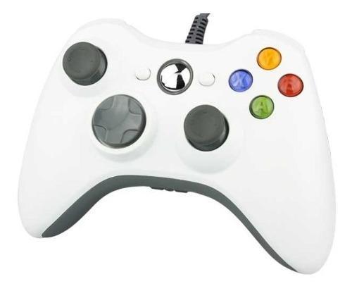 Control Videojuego Alambrico Xbox 360 C4s En Color Blanco