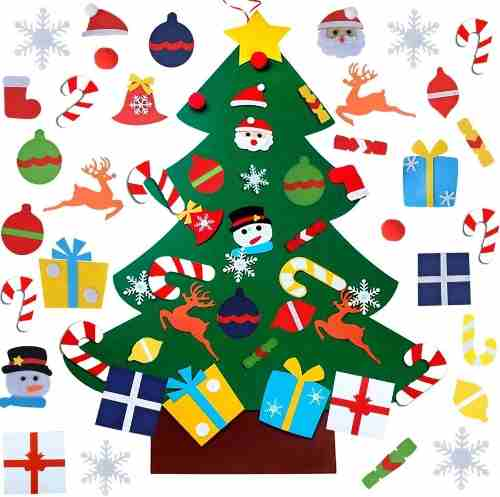 Arbol De Navidad Con Figuras Y Adornos Decoracion Navideña