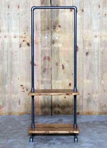 Closet Repisa Doble Perchero Rack Industrial Brida Vintage
