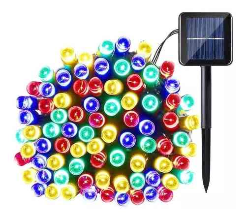Serie Solar Led Colores 100 Luces 12 Metros Sensor Oscuridad