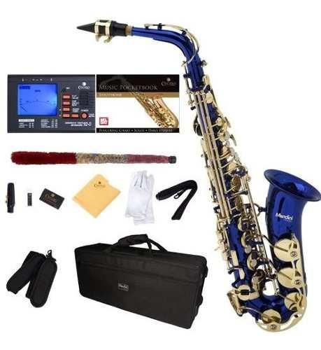 Saxofón Alto Cecilio Mendini Azul Llaves Doradas +