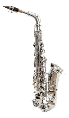 Saxofon Alto Eb Niquelado Silvertone Slsx010 Con Estuche