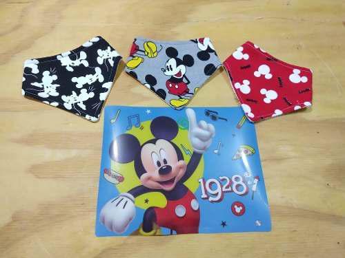 Set 3 Baberos Mickey Regalo Mantelito De Plástico