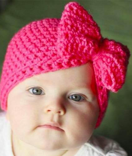 3 Gorritos Tejido Crochet Turbante Con Moño Para Bebe