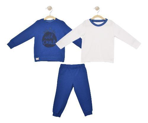 Set 3 Pzas, Sudadera Y Pantalon Baby Creysi Azul Uh3348