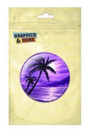 Sunset Beach Palm Tree Hawaii Paradise Purple Pinback Button