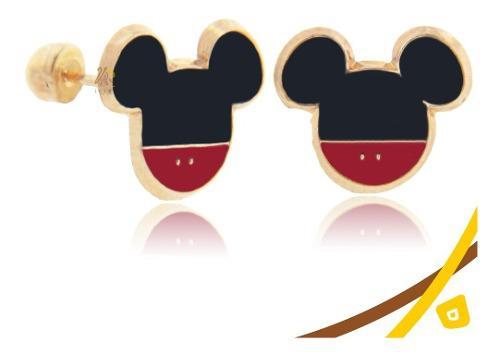Arete Tipo Broquel De Mickey Mouse De Oro 10k