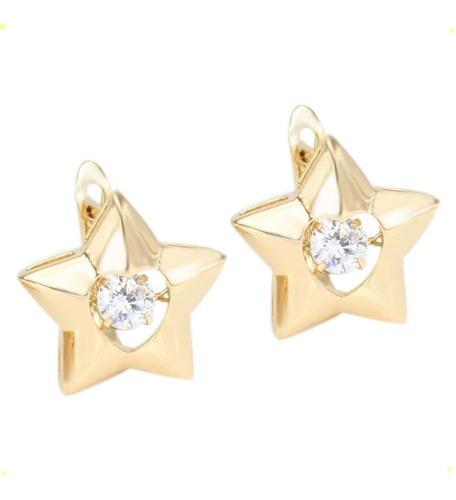 Aretes De Estrella Huggies De Oro Lam 18k Con Diamante