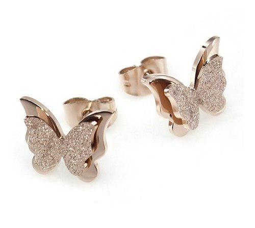 Aretes De Mariposa Con Brillos De Oro Laminado Envio Gratis