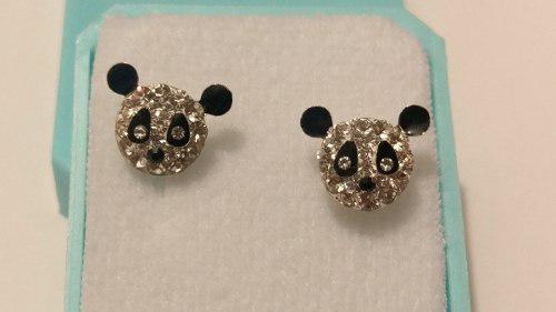Aretes De Plata Con Cristales De Oso Panda Estuche Y Envio G
