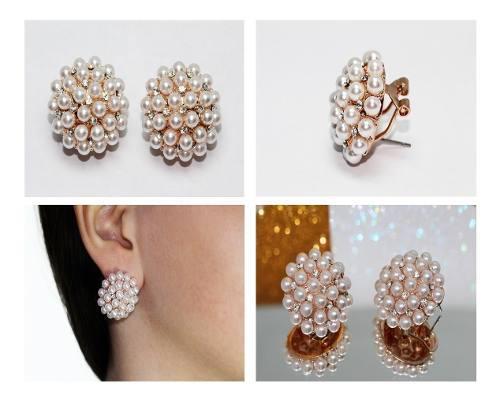 Aretes Moda Dorado Perlas Circular Finos Cristales Ar503