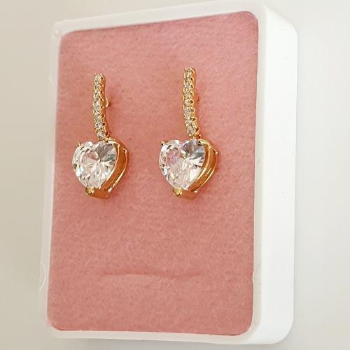 Aretes Oro Lam. Corazón Cristales Swarovski + Estuche