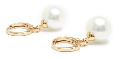 Aretes Perlas En Oro Laminado 18k Largos Colgantes