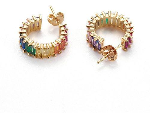 Arracadas Oro Laminado 18k Con Zirconias Cúbicas De Colores