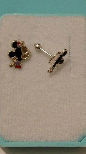 Broquel De Plata 925 De M. Mouse Aretes L Envio Gratis