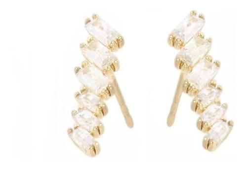 Trepadores Delgados De Oro Lam. De 18k Cristales Swarovski