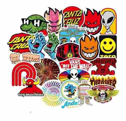Skate Roller 100 Calcomanias Stickers Pvc Contra El Agua