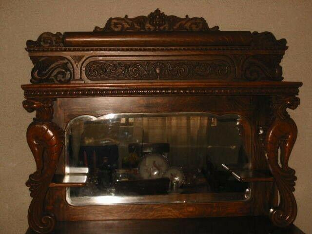 Cupboard o Bufetero de madera Encino Tigre del Siglo XIX