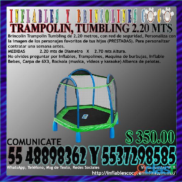 Renta Juego Brincolin Trampolín Tumbling de 2.20 Metros
