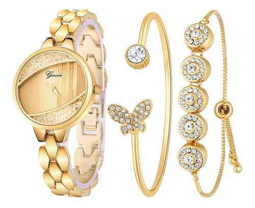 3 Unidades) Nuevo Reloj De Lujo Con Diamantes Para Mujer Y