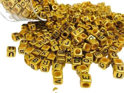 Cubo Dorado Con Letra 6 Mm 100 Piezas Al Azar
