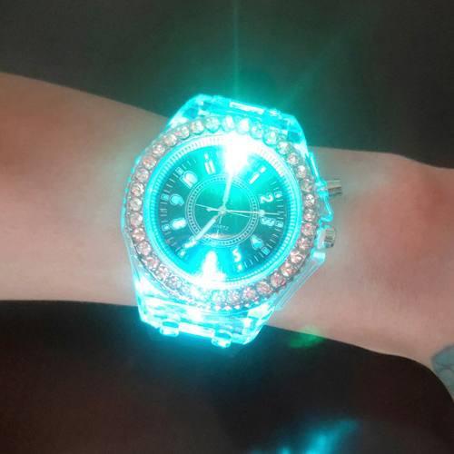 Luminoso Coloful Luz Reloj Led Cristal Bling Pareja Reloj