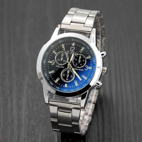 Reloj Con Correa De Acero Con Tres Ojos Y Cristal Blu-ray Pa