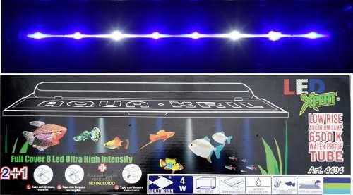 Tapa Con Lampa Led Pecera 50cm 40l Luz Azul Y Blanca