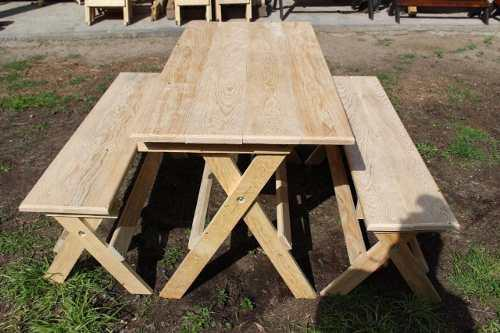 Mesa Con Bancas Plegables 100% D'madera Para Personalizar