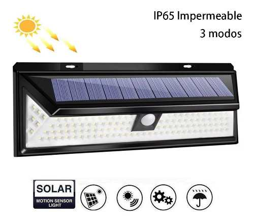Lámpara Solar Exterior 118 Led Sensor Movimiento 10 Horas
