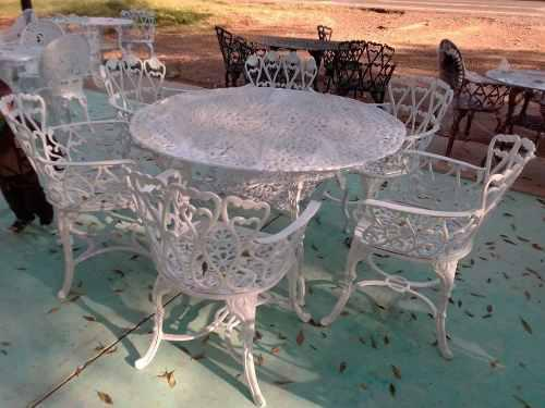 Comedor De Aluminio 6 Sillas Y 1 Mesa De Jardín - Corazones