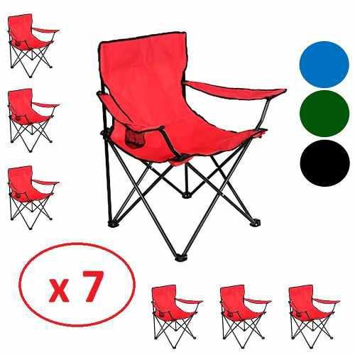 Set 7 Sillas Plegables Jardin Camping Aire Libre Hogar