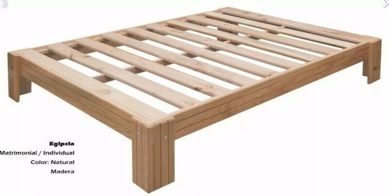 Base de cama matrimonial Nueva de madera de pino $