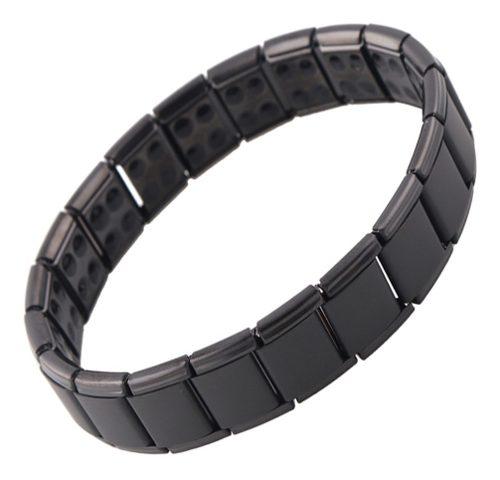 Brazalete Pulsera Elegante Negra Magnética Titanio