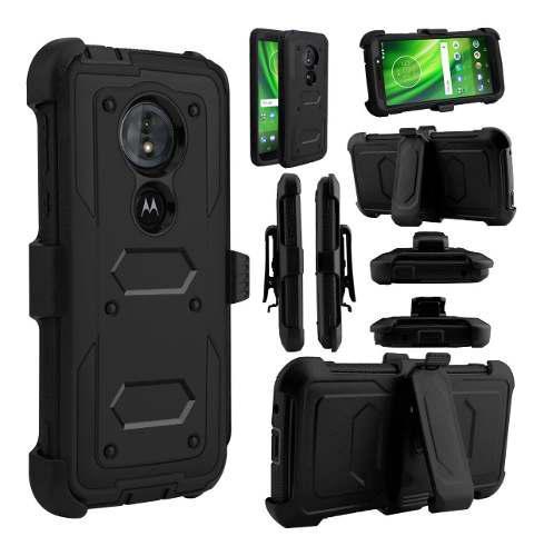 Funda De Uso Rudo Con Clip Para Motorola G6 Play / E5.