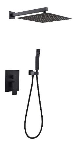 Regadera Baño Monomando Lluvia Cuadrada 25cm Telefono Negro