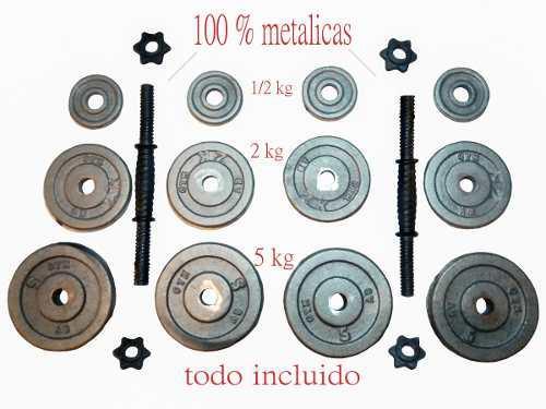 2 Mancuernas 16 Kg C/u -pesas-discos-barras.