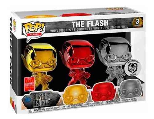 Funko Pop! Dc Justice Lleague Chrome The Flash 3 Pack Summer
