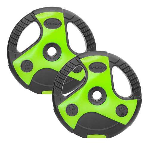 Par De Discos Para Pesas 1 Pulgada Cemento 10 Lb Verde Negro